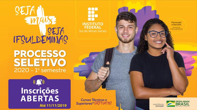 Inscrições abertas - IFSULDEMINAS oferta mais de 3 mil vagas em cursos técnicos e superiores para Ingresso em 2020/1º semestre